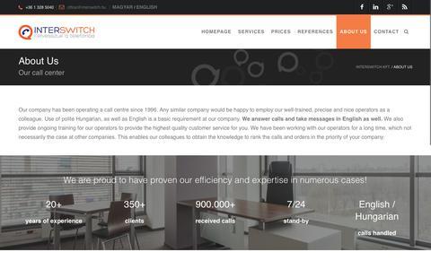 Screenshot of About Page interswitch.hu - Company information - Interswitch Kft. - captured Nov. 26, 2016