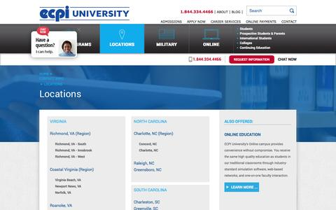 Screenshot of Locations Page ecpi.edu - Locations | ECPI University - captured May 23, 2016