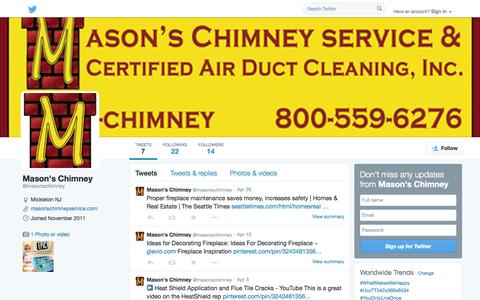 Screenshot of Twitter Page twitter.com - Mason's Chimney  (@masonschimney)   Twitter - captured Oct. 27, 2014