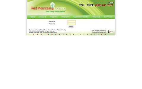 Screenshot of Login Page redmtnlighting.com - Your Energy Saving Partner - captured Oct. 27, 2014