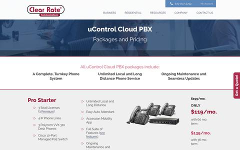 Screenshot of Pricing Page clearrate.com - uControl Cloud PBX Packages and Pricing - Clear Rate Communications : Clear Rate Communications - captured Aug. 3, 2017