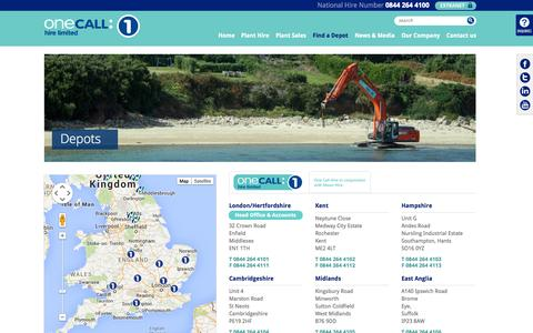 Screenshot of Contact Page Locations Page onecallhire.com - Depots - captured Oct. 26, 2014