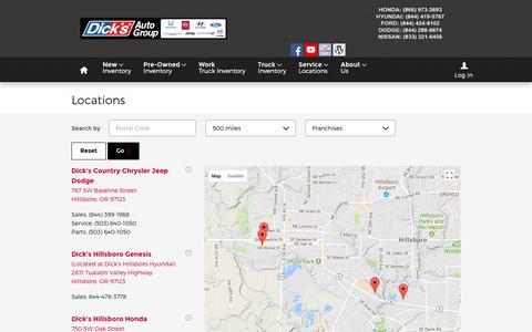 Screenshot of Locations Page dicksautogroup.com - Dick's Auto Group | New Dodge, Jeep, Ford, Chrysler, Hyundai, Honda, Ram, Nissan dealership in Hillsboro, OR 97123 - captured Aug. 7, 2018
