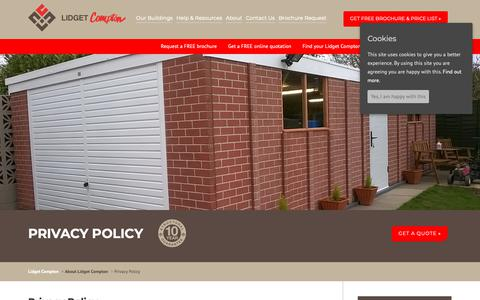 Screenshot of Privacy Page lidget.co.uk - Privacy Policy - Lidget Compton - captured Sept. 29, 2018
