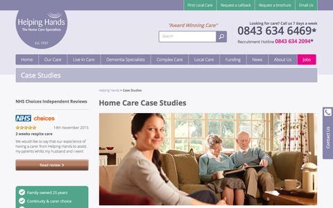 Screenshot of Case Studies Page helpinghandshomecare.co.uk - Case Studies - Helping Hands - The live-in care specialists - captured Dec. 9, 2015