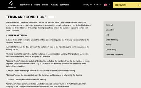 Screenshot of Terms Page generatorhostels.com - Terms & Conditions - Generator Hostels - captured Feb. 17, 2017