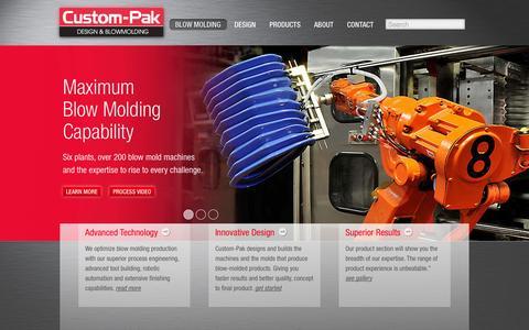Screenshot of Home Page custom-pak.com - Custom-Pak Design & Blow Molding - captured Oct. 3, 2014