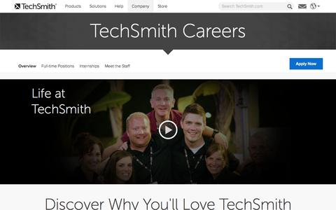 Screenshot of Jobs Page techsmith.com - Jobs at TechSmith, software engineers in Lansing - captured Oct. 26, 2014