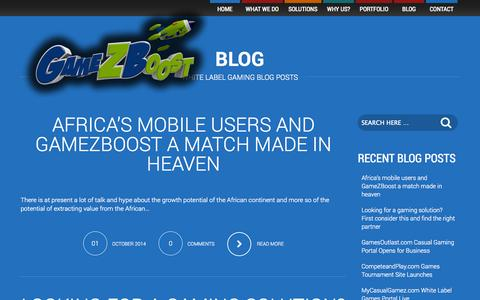 Screenshot of Blog gamezboost.com - Blog  –  GameZBoost – White Label Gaming Platforms – Desktop, Mobile and Social - captured Oct. 22, 2014