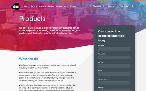 Screenshot of Products Page stonegroup.co.uk - Extensive range of products from Stone & our industry leading partners - captured Dec. 18, 2018