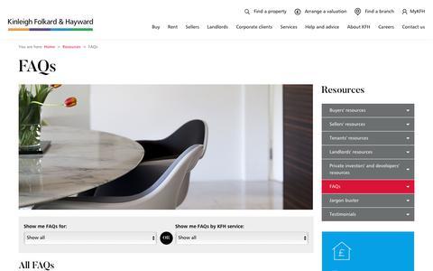 Screenshot of FAQ Page kfh.co.uk - London Property FAQs - captured Nov. 2, 2019
