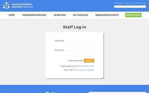 Screenshot of Login Page ldav.ca - Staff Log In – LDAV - captured Nov. 5, 2016