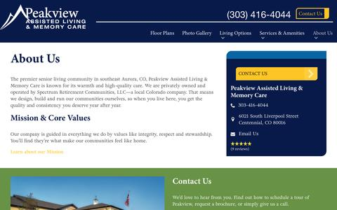 Screenshot of About Page spectrumretirement.com - About Peakview Assisted Living & Memory Care - captured Jan. 15, 2017