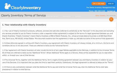Screenshot of Terms Page clearlyinventory.com - Terms and Conditions - Clearly Inventory - captured July 18, 2018