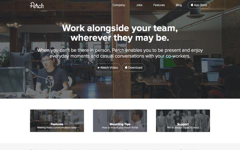 Screenshot of Home Page perch.co - Always-On Video Portal | Perch - captured Sept. 18, 2014