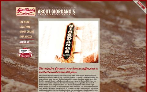 Screenshot of About Page giordanos.com - About Us - Giordano's Famous Chicago Pizza - captured Sept. 23, 2014