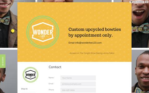 Screenshot of Contact Page storenvy.com - Contact · Wonder Lee 123  · Online Store Powered by Storenvy - captured Feb. 17, 2018