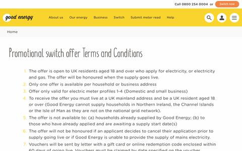 Screenshot of Terms Page goodenergy.co.uk - terms conditions | Good Energy - captured April 7, 2017