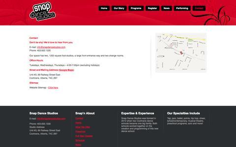 Screenshot of Contact Page snapdancestudios.com - Contact Snap | Dance School | Snap Dance Studios | Cochrane AB - captured Sept. 30, 2014