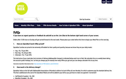 Screenshot of FAQ Page spicebox.in - FAQs | spicebox.in/ - captured Oct. 7, 2014