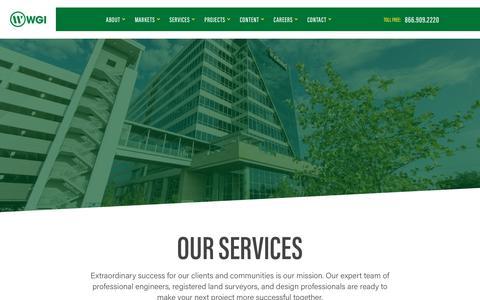 Screenshot of Services Page wginc.com - Services - WGI - captured Aug. 7, 2019