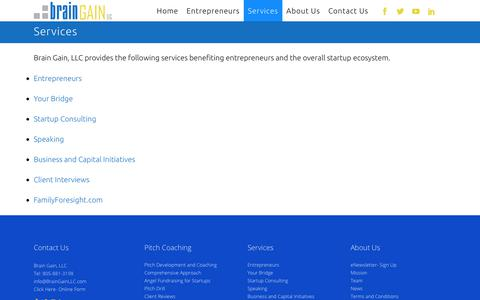 Screenshot of Services Page braingainllc.com - BrainGainLLC |   Services - captured Aug. 3, 2018