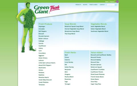 Screenshot of Products Page greengiantfresh.com - Products | Green Giant Fresh US - captured Dec. 14, 2015