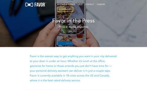 Screenshot of Press Page favordelivery.com - Press • Favor Delivery - Favor Delivery - captured Nov. 25, 2016