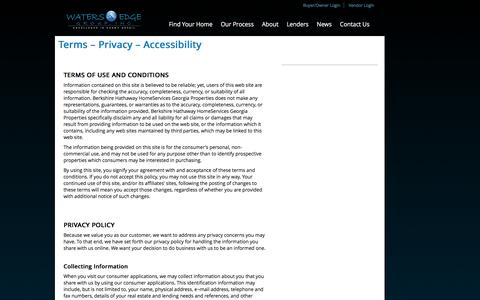 Screenshot of Privacy Page Terms Page watersedgegroup.com - Terms - Privacy - Accessibility - Waters Edge Group - captured Dec. 3, 2016