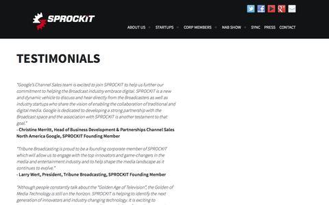 Screenshot of Testimonials Page sprockitglory.com - Testimonials | Sprockit - captured Oct. 3, 2014