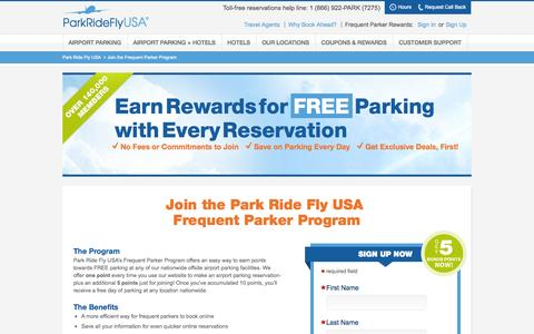 Screenshot of Signup Page parkrideflyusa.com - Join the Frequent Parker Program   Park Ride Fly USA - captured Sept. 22, 2014