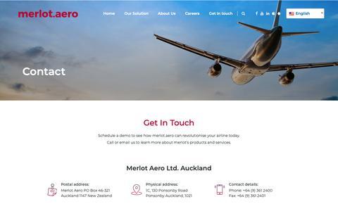 Screenshot of Contact Page merlot.aero - Contact · Merlot.Aero - captured Oct. 17, 2018