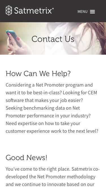 Contact Satmetrix for Customer Experience Software