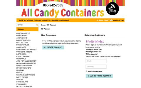 Screenshot of Login Page allcandycontainers.com - Login For  - My Account Page - captured Sept. 30, 2018