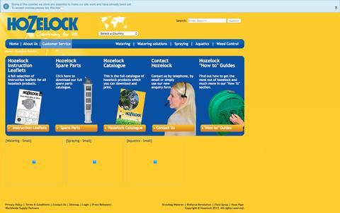 Screenshot of Support Page hozelock.com - Customer Service - Hozelock - captured Dec. 13, 2015