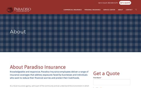 Screenshot of About Page paradisoinsurance.com - About - Paradiso Insurance - captured July 17, 2019