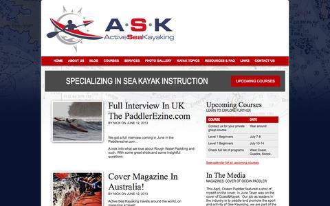 Screenshot of Blog activeseakayaking.ca - Sea Kayaking Blog - Active Sea Kayaking - captured Sept. 30, 2014