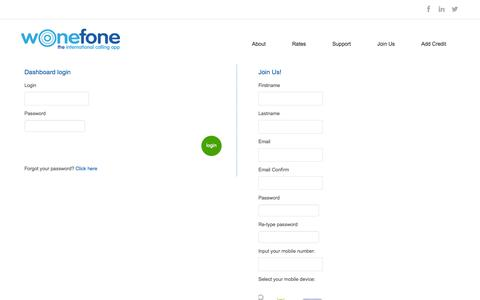 Screenshot of Signup Page wonefone.com - wOnefone | - captured Oct. 29, 2014