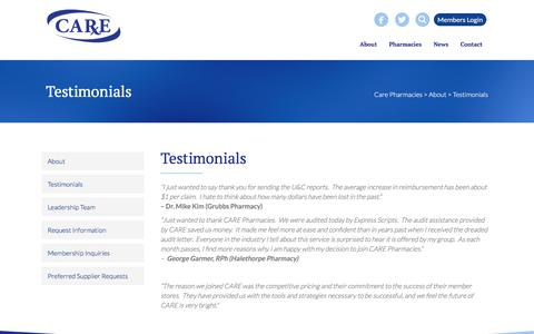 Screenshot of Testimonials Page carepharmacies.com - Testimonials | Care Pharmacies - captured Sept. 26, 2018