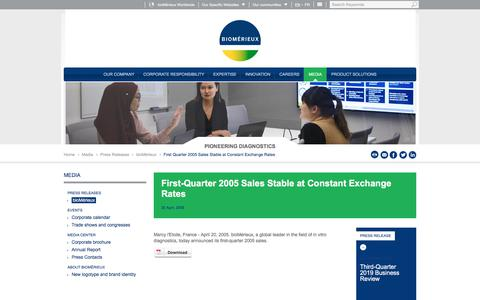 Screenshot of Pricing Page biomerieux.com - First Quarter 2005 Sales Stable at Constant Exchange Rates | bioMérieux Corporate Website - captured Dec. 12, 2019