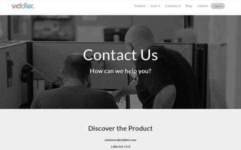 Screenshot of Contact Page viddler.com - Contact Us - captured April 20, 2016