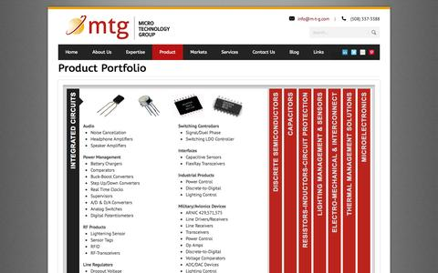 Screenshot of Products Page m-t-g.com - Products - captured Oct. 27, 2014
