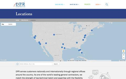 Screenshot of Locations Page dpr.com - Locations | DPR Construction - captured July 5, 2017