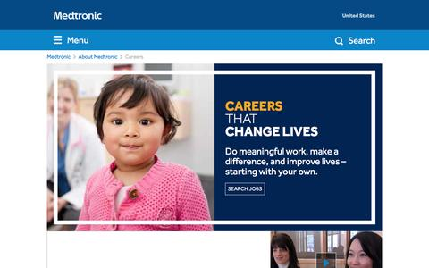 Screenshot of Jobs Page medtronic.com - Careers - captured April 1, 2016