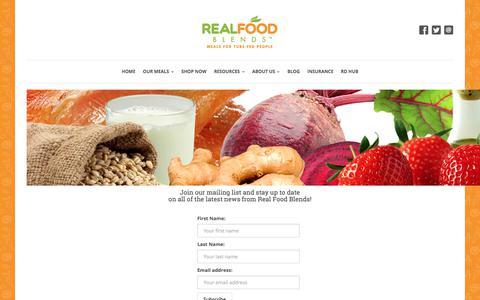 Screenshot of Signup Page realfoodblends.com - Mailing List Sign Up | Real Food Blends - captured Sept. 21, 2018