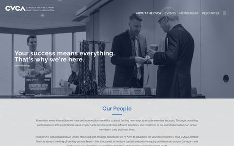 Screenshot of Team Page cvca.ca - Our People – Canadian Venture Capital and Private Equity Association - captured Dec. 18, 2019