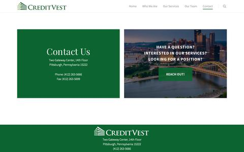 Screenshot of Contact Page creditvest.com - Contact - CreditVest, Inc. - captured Sept. 30, 2018