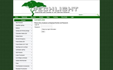 Screenshot of Login Page techlightusa.com - Techlight - Innovator and Leader in the Lighting Industry - captured Oct. 26, 2014