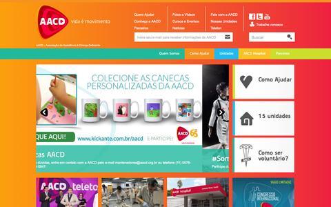 Screenshot of Home Page aacd.org.br - AACD - Vida é movimento : AACD - captured June 17, 2015
