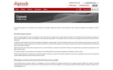 Screenshot of Privacy Page digiweb.co.nz - Privacy Policy | Digiweb - Exceptional Service - captured Sept. 19, 2014